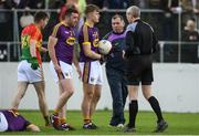 21 May 2017; Wexford manager Seamus McEnaney in conversation with referee Fergal Kelly during the Leinster GAA Football Senior Championship Round 1 match between Carlow and Wexford at Netwatch Cullen Park in Carlow. Photo by Ramsey Cardy/Sportsfile