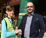 21 May 2017;  Ryan Delaney of  Cork Schoolboys League is presented with the man of the match award from Eamonn Duggan of Subway at the end of the Subway SFAI U12 Final match between Cork Schoolboys League and Dublin District Schoolboys League in Cahir, Co Tipperary. Photo by David Maher/Sportsfile