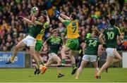 20 May 2017; Mathew Fitzpatrick of Antrim in action against Ryan McHugh of Donegal during the Ulster GAA Football Senior Championship Quarter-Final match between Donegal and Antrim at MacCumhaill Park in Ballybofey, Co Donegal. Photo by Oliver McVeigh/Sportsfile