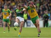 20 May 2017; Mark Sweeney of Antrim in action against Michael Murphy of Donegal during the Ulster GAA Football Senior Championship Quarter-Final match between Donegal and Antrim at MacCumhaill Park in Ballybofey, Co Donegal. Photo by Oliver McVeigh/Sportsfile