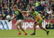 20 May 2017; Peter Healy of Antrim in action against Michael Murphy of Donegal during the Ulster GAA Football Senior Championship Quarter-Final match between Donegal and Antrim at MacCumhaill Park in Ballybofey, Co Donegal. Photo by Oliver McVeigh/Sportsfile