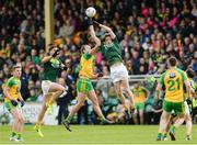 21 May 2017; Stephen Beatty of Antrim  in action against Michael Murphy of Donegal during the Ulster GAA Football Senior Championship Quarter-Final match between Donegal and Antrim at MacCumhaill Park in Ballybofey, Co Donegal. Photo by Oliver McVeigh/Sportsfile