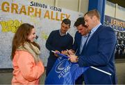 19 May 2017; Supporters with Rob Kearney, Tom Daly and Jamie Heaslip in Autograph Alley ahead of the Guinness PRO12 Semi-Final match between Leinster and Scarlets at the RDS Arena in Dublin. Photo by Ramsey Cardy/Sportsfile