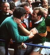 21 September 1986; Kerry manager Mick O'Dwyer, left, celebrates with midfielder Jack O'Shea after the game. Kerry v Tyrone, All-Ireland Football Final, Croke Park, Dublin. Picture credit; Ray McManus / SPORTSFILE