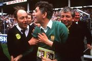 21 September 1986; Kerry manager Mick O'Dwyer, centre, is congratulated by fans after the final whistle. Kerry v Tyrone, All-Ireland Football Final, Croke Park, Dublin. Picture credit; Ray McManus / SPORTSFILE