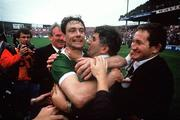 21 September 1986; Kerry captain Tommy Doyle celebrates with manager Mick O'Dwyer after the final whistle. Kerry v Tyrone, All-Ireland Football Final, Croke Park, Dublin. Picture credit; Ray McManus / SPORTSFILE