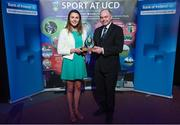 22 May 2017; Deirdre Duke of UCD Ladies Hockey Team, is presented with the Elite Team of the Year Award by Professor Andrew Deeks, President of University College Dublin, during the UCD Sports Awards 2017 at Student Centre, UCD, Belfield, in Dublin. Photo by Sam Barnes/Sportsfile
