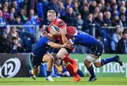 19 May 2017; Johnny McNicholl of Scarlets is tackled by Robbie Henshaw, left, and Josh van der Flier of Leinster  during the Guinness PRO12 Semi-Final match between Leinster and Scarlets at the RDS Arena in Dublin. Photo by Ramsey Cardy/Sportsfile