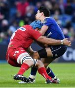 19 May 2017; Joey Carbery of Leinster is tackled by Tadhg Beirne of Scarlets during the Guinness PRO12 Semi-Final match between Leinster and Scarlets at the RDS Arena in Dublin. Photo by Ramsey Cardy/Sportsfile