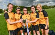 20 May 2017; Ulster and Cavan players, from left, Ailish Cornyn, Donna English, Sinead Greene, Aisling Doonan and Mona Sheridan following the MMI Ladies Football Interprovincial Tournament final between Munster and Ulster at Gavan Diffy Park in Monaghan. Photo by Ramsey Cardy/Sportsfile