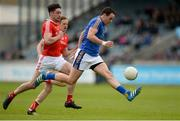 21 May 2017; Paul McLoughlin of Wicklow gets past Eoin O'Connor of Louth during the Leinster GAA Football Senior Championship Round 1 match between Louth and Wicklow at Parnell Park in Dublin. Photo by Piaras Ó Mídheach/Sportsfile