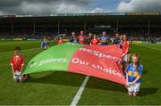 21 May 2017; Referee James Owens, his officials, the cork captain Stephen McDonnell, the Tipperary captain Padraic Maher and GO GAMES mascots before the Munster GAA Hurling Senior Championship Semi-Final match between Tipperary and Cork at Semple Stadium in Thurles, Co. Tipperary. Photo by Ray McManus/Sportsfile