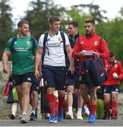 22 May 2017; British and Irish Lions players, from left, Sean O'Brien, Owen Farrell, Jonathan Sexton and Rhys Webb arrive for squad training at Carton House in Maynooth, Co. Kildare. Photo by Ramsey Cardy/Sportsfile