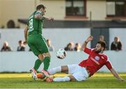 22 May 2017; Karl Sheppard of Cork City is tackled by Kyle Callan McFadden of Sligo Rovers resulting in a penalty been awarded during the SSE Airtricity League Premier Division match between Sligo Rovers and Cork City at the Showgrounds in Co. Sligo. Photo by David Maher/Sportsfile