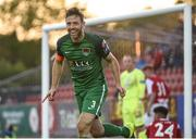 22 May 2017;  Alan Bennett of Cork City celebrates after his teammate Kevin O'Connor had scored his side's second goal during the SSE Airtricity League Premier Division match between Sligo Rovers and Cork City at the Showgrounds in Co Sligo. Photo by David Maher/Sportsfile