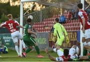 22 May 2017; The ball goes straight in to the Sligo Rovers goal for Cork City's second goal from a corner kick from Kevin O'Connor  during the SSE Airtricity League Premier Division match between Sligo Rovers and Cork City at the Showgrounds in Co Sligo. Photo by David Maher/Sportsfile