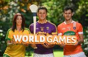 24 May 2017; In attendance at the GAA and the DFA launch of the 2017 Global Games Development Fund at Iveagh House are, from left, Aoife McDonnell of Donegal, Lee Chin of Wexford and Jamie Clarke of Armagh. St. Stephen's Green, Dublin. Photo by Sam Barnes/Sportsfile
