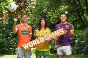 24 May 2017; In attendance at the GAA and the DFA launch of the 2017 Global Games Development Fund at Iveagh House are, from left, Jamie Clarke of Armagh, Aoife McDonnell of Donegal and Lee Chin of Wexford. St. Stephen's Green, Dublin. Photo by Sam Barnes/Sportsfile