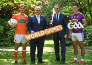 24 May 2017; In attendance at the GAA and the DFA launch of The 2017 Global Games Development Fund at Iveagh House are, from left, Jamie Clarke of Armagh, Uachtarán Chumann Lúthchleas Aogán Ó Fearghail, Minister for the Diaspora and International Development, Joe McHugh T.D. and Lee Chin of Wexford. St. Stephen's Green, Dublin. Photo by Sam Barnes/Sportsfile