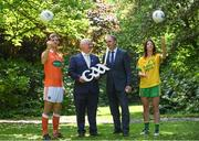 24 May 2017;  In attendance during the GAA and the DFA Launch of The 2017 Global Games Development Fund at Iveagh House are, from left,  Jamie Clarke of Armagh, Uachtarán Chumann Lúthchleas Aogán Ó Fearghail, Minister for the Diaspora and International Development, Joe McHugh T.D. and Aoife McDonnell of Donegal. St. Stephen's Green, Dublin. Photo by Sam Barnes/Sportsfile