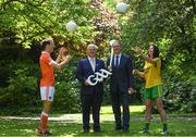 24 May 2017; In attendance at the GAA and the DFA launch of the 2017 Global Games Development Fund at Iveagh House are, from left,  Jamie Clarke of Armagh, Uachtarán Chumann Lúthchleas Aogán Ó Fearghail, Minister for the Diaspora and International Development, Joe McHugh T.D. and Aoife McDonnell of Donegal. St. Stephen's Green, Dublin. Photo by Sam Barnes/Sportsfile
