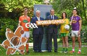 24 May 2017; In attendance at the GAA and the DFA launch of The 2017 Global Games Development Fund at Iveagh House are, from left, Jamie Clarke of Armagh, Uachtarán Chumann Lúthchleas Aogán Ó Fearghail, Minister for the Diaspora and International Development, Joe McHugh T.D., Aoife McDonnell of Donegal, and Lee Chin of Wexford. St. Stephen's Green, Dublin. Photo by Sam Barnes/Sportsfile