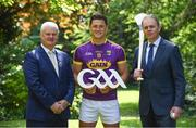24 May 2017; In attendance at the GAA and the DFA launch of The 2017 Global Games Development Fund at Iveagh House are, from left, Uachtarán Chumann Lúthchleas Aogán Ó Fearghail, Lee Chin of Wexford and Minister for the Diaspora and International Development, Joe McHugh T.D. St. Stephen's Green, Dublin. Photo by Sam Barnes/Sportsfile