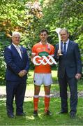 24 May 2017; In attendance at the GAA and the DFA launch of The 2017 Global Games Development Fund at Iveagh House are, from left, Uachtarán Chumann Lúthchleas Aogán Ó Fearghail, Jamie Clarke of Armagh and Minister for the Diaspora and International Development, Joe McHugh T.D. St. Stephen's Green, Dublin. Photo by Sam Barnes/Sportsfile