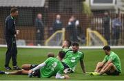 25 May 2017; Republic of Ireland players warm down after squad training at Fota Island in Cork. Photo by Eóin Noonan/Sportsfile