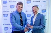 25 May 2017; Kuba Wojtkowicz, Sligo RFC, is presented with the award for Ulster Bank Player of the Year Division 2C by Ireland rugby head coach Joe Schmidt during the Ulster Bank League Awards at the Aviva Stadium in Dublin. Photo by Cody Glenn/Sportsfile