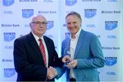 25 May 2017; Ken Redpath, City of Armagh RFC, is presented with the award for Ulster Bank Public Relations Officer of the Year by Ireland rugby head coach Joe Schmidt during the Ulster Bank League Awards at the Aviva Stadium in Dublin. Photo by Cody Glenn/Sportsfile