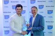 25 May 2017; Eamonn Mills, Lansdowne RFC, is presented with the award for Ulster Bank Leinster Player of the Year by Ireland rugby head coach Joe Schmidt during the Ulster Bank League Awards at the Aviva Stadium in Dublin. Photo by Cody Glenn/Sportsfile