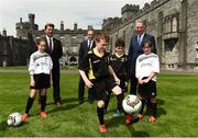 26 May 2017; Republic of Ireland manager Martin O'Neill, centre, with FAI Chief Executive John Delaney, right, and Republic of Ireland senior women's head coach Colin Bell with children Brenda O'Gallachoir and Orla O'Grady, both from Callan, Co. Kilkenny and Alex Begley and Billy O'Shaungnessy, both from Thomastown, Co. Kilkenny, during the launch of the 2017 FAI AGM & Festival of Football at Parade Tower in Kilkenny Castle, Co. Kilkenny. Photo by David Maher/Sportsfile