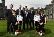 26 May 2017; Republic of Ireland manager Martin O'Neill, second from right, with, from left, Republic of Ireland senior women's head coach Colin Bell, Councillor Matt Doran, Cathaoirleach of Kilkenny County Council, FAI Chief Executive John Delaney and FAI President Tony Fitzgerald with children Brenda O'Gallachoir and Orla O'Grady, both from Callan, Co. Kilkenny, and Alex Begley and Billy O'Shaungnessy, both from Thomastown, Co. Kilkenny, during the launch of the 2017 FAI AGM & Festival of Football at Parade Tower in Kilkenny Castle, Co Kilkenny. Photo by David Maher/Sportsfile