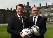 26 May 2017; Republic of Ireland manager Martin O'Neill, right, with Republic of Ireland senior women's head coach Colin Bell during the launch of the 2017 FAI AGM & Festival of Football at Parade Tower in Kilkenny Castle, Co Kilkenny. Photo by David Maher/Sportsfile