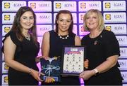 26 May 2017; The Lidl Teams of the League Awards were presented at Croke Park on Friday, May 26th. The best players from the 4 Divisions of the Lidl National Football Leagues are selected in their position on their Divisional team. Managers from opposition teams voted for the most impressive players from each match with the player receiving the most votes selected in their position on their Divisions best fifteen. Roisin Gleeson of Fermanagh is pictured receiving her Team of the League award from LGFA President, Marie Hickey, right, and Lidl representative, Laura Byrne. Photo by Sam Barnes/Sportsfile