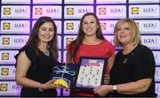 26 May 2017; The Lidl Teams of the League Awards were presented at Croke Park on Friday, May 26th. The best players from the 4 Divisions of the Lidl National Football Leagues are selected in their position on their Divisional team. Managers from opposition teams voted for the most impressive players from each match with the player receiving the most votes selected in their position on their Divisions best fifteen. Anne Roche of Carlow is pictured receiving her Team of the League award from LGFA President, Marie Hickey, right, and Lidl representative, Laura Byrne. Photo by Sam Barnes/Sportsfile