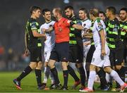 26 May 2017; Players from both teams are separated by referee James McKell during the SSE Airtricity League Premier Division match between Cork City and Shamrock Rovers at Turners Cross, in Cork.  Photo by Eóin Noonan/Sportsfile
