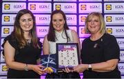 26 May 2017; The Lidl Teams of the League Awards were presented at Croke Park on Friday, May 26th. The best players from the 4 Divisions of the Lidl National Football Leagues are selected in their position on their Divisional team. Managers from opposition teams voted for the most impressive players from each match with the player receiving the most votes selected in their position on their Divisions best fifteen. Sharon Murphy, centre, of Fermanagh is pictured receiving her Team of the League award from LGFA President, Marie Hickey, right, and Lidl representative, Laura Byrne. Photo by Sam Barnes/Sportsfile