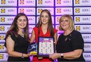 26 May 2017; The Lidl Teams of the League Awards were presented at Croke Park on Friday, May 26th. The best players from the 4 Divisions of the Lidl National Football Leagues are selected in their position on their Divisional team. Managers from opposition teams voted for the most impressive players from each match with the player receiving the most votes selected in their position on their Divisions best fifteen. Michelle Farrell, centre, of Longford is pictured receiving her Team of the League award from LGFA President, Marie Hickey, right, and Lidl representative, Laura Byrne. Photo by Sam Barnes/Sportsfile