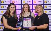 26 May 2017; The Lidl Teams of the League Awards were presented at Croke Park on Friday, May 26th. The best players from the 4 Divisions of the Lidl National Football Leagues are selected in their position on their Divisional team. Managers from opposition teams voted for the most impressive players from each match with the player receiving the most votes selected in their position on their Divisions best fifteen. Cliodhna Ní Shéa, centre, of Carlow is pictured receiving her Team of the League award from LGFA President, Marie Hickey, right, and Lidl representative, Laura Byrne. Photo by Sam Barnes/Sportsfile