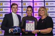 26 May 2017; The Lidl Teams of the League Awards were presented at Croke Park on Friday, May 26th. The best players from the 4 Divisions of the Lidl National Football Leagues are selected in their position on their Divisional team. Managers from opposition teams voted for the most impressive players from each match with the player receiving the most votes selected in their position on their Divisions best fifteen. Ellee McEvoy, centre, of Offaly is pictured receiving her Team of the League award from LGFA President, Marie Hickey, right, and Lidl representative, Jay Wilson. Photo by Sam Barnes/Sportsfile