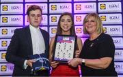 26 May 2017; The Lidl Teams of the League Awards were presented at Croke Park on Friday, May 26th. The best players from the 4 Divisions of the Lidl National Football Leagues are selected in their position on their Divisional team. Managers from opposition teams voted for the most impressive players from each match with the player receiving the most votes selected in their position on their Divisions best fifteen. Mairead Daly, centre, of Offaly is pictured receiving her Team of the League award from LGFA President, Marie Hickey, right, and Lidl representative, Jay Wilson. Photo by Sam Barnes/Sportsfile