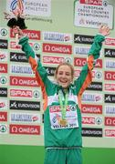 11 December 2011; Fionnuala Britton, Ireland, celebrates after being presented with her gold medal following her Senior Women's event victory at the 18th SPAR European Cross Country Championships 2011. Velenje, Slovenia. Picture credit: Stephen McCarthy / SPORTSFILE