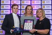 26 May 2017; The Lidl Teams of the League Awards were presented at Croke Park on Friday, May 26th. The best players from the 4 Divisions of the Lidl National Football Leagues are selected in their position on their Divisional team. Managers from opposition teams voted for the most impressive players from each match with the player receiving the most votes selected in their position on their Divisions best fifteen. Karen Guthrie of Donegal is pictured receiving her Team of the League award from LGFA President, Marie Hickey, right, and Lidl representative, Jay Wilson. Photo by Sam Barnes/Sportsfile