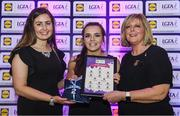 26 May 2017; The Lidl Teams of the League Awards were presented at Croke Park on Friday, May 26th. The best players from the 4 Divisions of the Lidl National Football Leagues are selected in their position on their Divisional team. Managers from opposition teams voted for the most impressive players from each match with the player receiving the most votes selected in their position on their Divisions best fifteen. Rachel Dillon of Westmeath is pictured receiving her Team of the League award from LGFA President, Marie Hickey, right, and Lidl representative, Laura Byrne. Photo by Sam Barnes/Sportsfile
