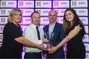 26 May 2017; Stephen Maxwell was presented with the Lidl Manager of the League Award in association with the Irish Daily Star after his Westmeath side achieved promotion to the top tier after claiming the Lidl NFL Division 2 title following a replay victory over Cavan. James was presented with his award by Marie Hickey, President of the LGFA, left, Brian Flanagan, the Sports Editor of the Irish Daily Star, second from right, and Laura Byrne from Lidl.  Photo by Sam Barnes/Sportsfile