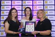26 May 2017; The Lidl Teams of the League Awards were presented at Croke Park on Friday, May 26th. The best players from the 4 Divisions of the Lidl National Football Leagues are selected in their position on their Divisional team. Managers from opposition teams voted for the most impressive players from each match with the player receiving the most votes selected in their position on their Divisions best fifteen. Maud Annie Foley of Westmeath is pictured receiving her Team of the League award from LGFA President, Marie Hickey,right, and Lidl representative, Laura Byrne. Photo by Sam Barnes/Sportsfile