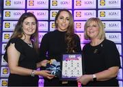 26 May 2017; The Lidl Teams of the League Awards were presented at Croke Park on Friday, May 26th. The best players from the 4 Divisions of the Lidl National Football Leagues are selected in their position on their Divisional team. Managers from opposition teams voted for the most impressive players from each match with the player receiving the most votes selected in their position on their Divisions best fifteen. Aishling Sheridan of Cavan is pictured receiving her Team of the League award from LGFA President, Marie Hickey,right, and Lidl representative, Laura Byrne. Photo by Sam Barnes/Sportsfile