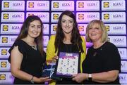 26 May 2017; The Lidl Teams of the League Awards were presented at Croke Park on Friday, May 26th. The best players from the 4 Divisions of the Lidl National Football Leagues are selected in their position on their Divisional team. Managers from opposition teams voted for the most impressive players from each match with the player receiving the most votes selected in their position on their Divisions best fifteen. Laura Brennan of Westmeath is pictured receiving her Team of the League award from LGFA President, Marie Hickey,right, and Lidl representative, Laura Byrne. Photo by Sam Barnes/Sportsfile
